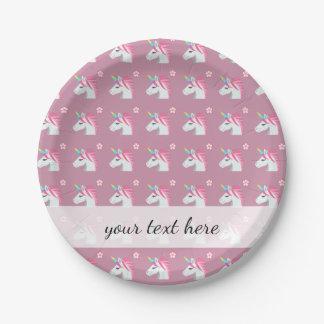 Modelo rosado femenino lindo de Emoji de la flor Plato De Papel