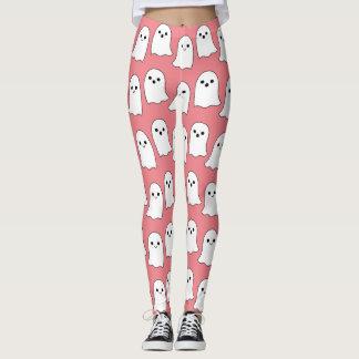 Modelo rosado fresco de los fantasmas del dibujo leggings