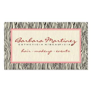 Modelo rosado y beige negro de la cebra del estamp tarjetas de visita
