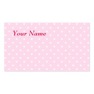 Modelo rosado y blanco bonito del corazón del amor tarjetas de visita