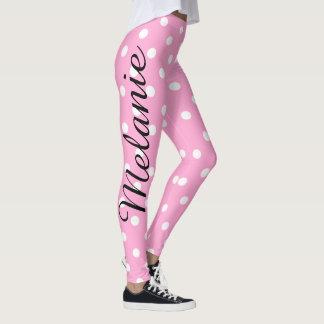 Modelo rosado y blanco de la yoga linda de lunar leggings