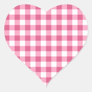 Modelo rosado y blanco del control de la guinga pegatina en forma de corazón