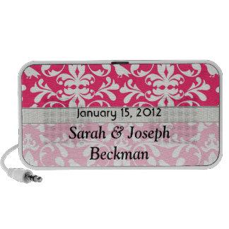 modelo rosado y blanco del damasco del pájaro iPod altavoces