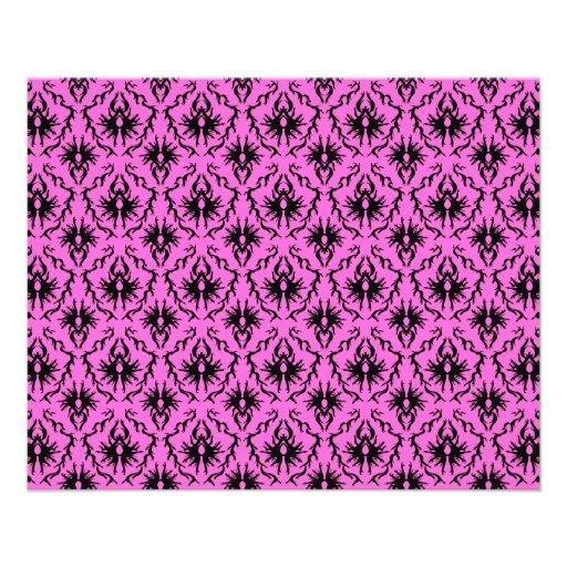 Modelo rosado y negro brillante del damasco tarjeta publicitaria