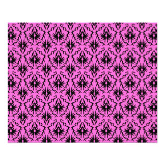 Modelo rosado y negro brillante del damasco folleto 11,4 x 14,2 cm