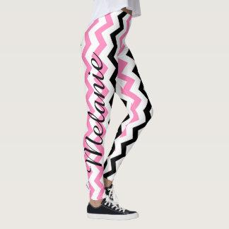 Modelo rosado y negro de la yoga linda de Chevron Leggings