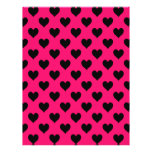 Modelo rosado y negro del corazón flyer personalizado