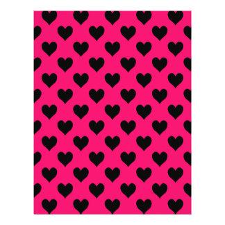 Modelo rosado y negro del corazón folleto 21,6 x 28 cm