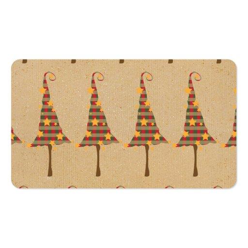 Modelo rústico de los árboles de navidad tarjetas de visita