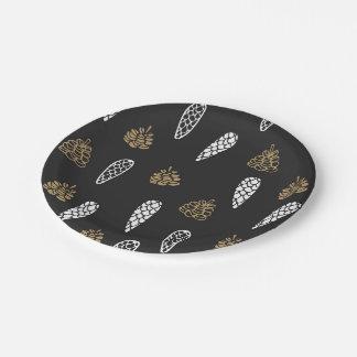 Modelo rústico del cono del pino plato de papel