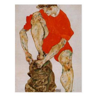 Modelo Schiele-Femenino de Egon en chaqueta y Postal