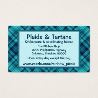 Modelo sombreado azul de la tela escocesa tarjeta de visita
