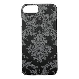Modelo sucio del damasco del vintage - gris y funda para iPhone 8/7