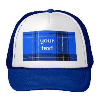 Modelo tejido azul del tartán gorras