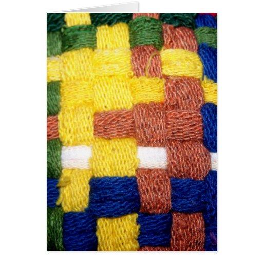 Modelo tejido colorido tarjetas