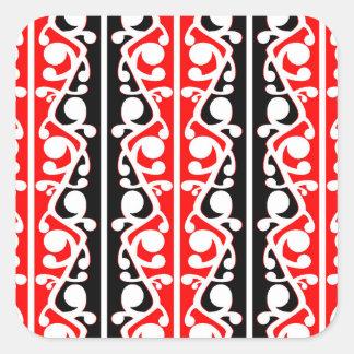 Modelo tradicional maorí de Kowhaiwhai Pegatina Cuadrada