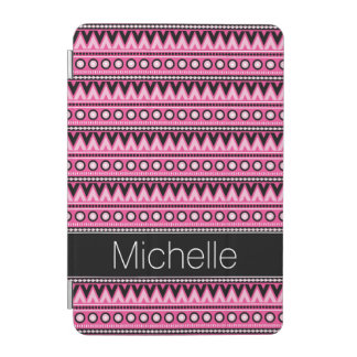 Modelo tribal azteca moderno blanco negro rosado cover de iPad mini