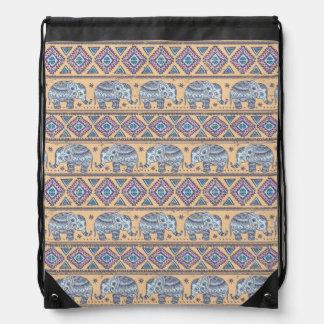 Modelo tribal del elefante étnico azul mochila
