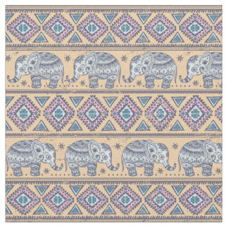 Modelo tribal del elefante étnico azul tela