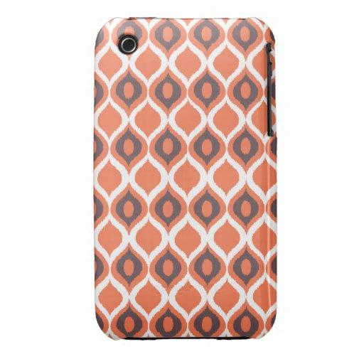Modelo tribal geométrico retro anaranjado de la iPhone 3 Case-Mate funda