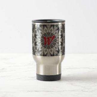 Modelo tribal nativo de encargo negro/blanco de taza de viaje de acero inoxidable