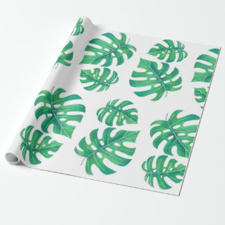 Modelo tropical con las hojas del monstera papel de regalo