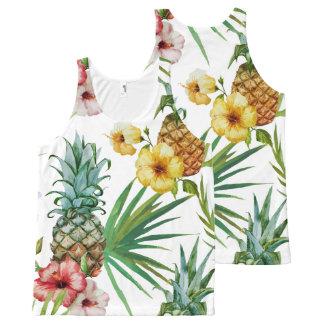 Modelo tropical de la piña de la acuarela del tema camiseta de tirantes con estampado integral