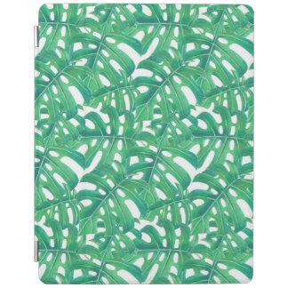 Modelo tropical de las hojas del monstera verde en cubierta de iPad