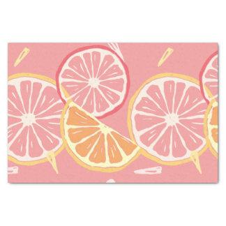 Modelo tropical del pomelo rosado y del limón de papel de seda