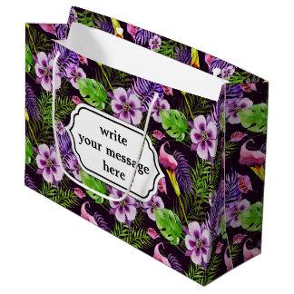 Modelo tropical púrpura negro de la acuarela de la bolsa de regalo grande