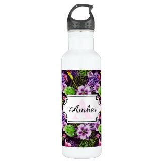 Modelo tropical púrpura negro de la acuarela de la botella de agua