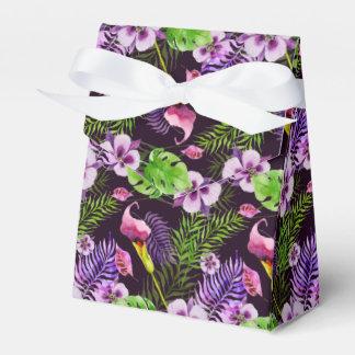 Modelo tropical púrpura negro de la acuarela de la caja para regalos
