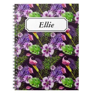 Modelo tropical púrpura negro de la acuarela de la cuaderno
