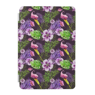 Modelo tropical púrpura negro de la acuarela de la cubierta de iPad mini