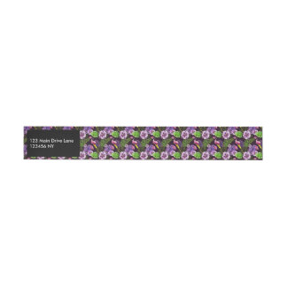 Modelo tropical púrpura negro de la acuarela de la etiquetas envolventes de dirección