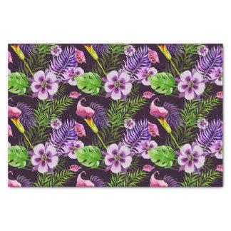 Modelo tropical púrpura negro de la acuarela de la papel de seda