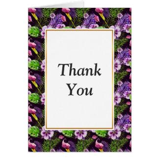Modelo tropical púrpura negro de la acuarela de la tarjeta pequeña