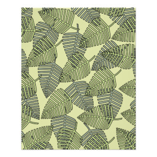 Modelo tropical verde de las hojas folleto 11,4 x 14,2 cm