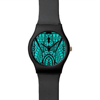 Modelo, turquesa y negro arquitectónicos de Deco Reloj De Pulsera