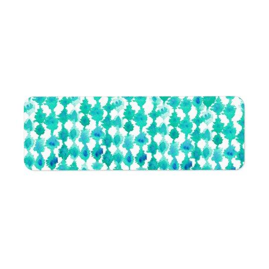 Modelo verde azulado de Ikat de la acuarela Etiqueta De Remitente