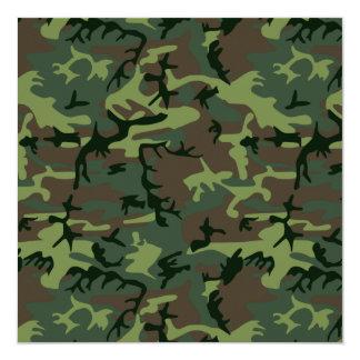Modelo verde de Camo Brown del camuflaje Invitación 13,3 Cm X 13,3cm