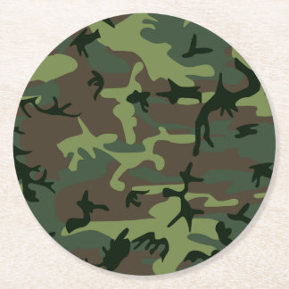 Modelo verde de Camo Brown del camuflaje Posavasos De Papel Redondo