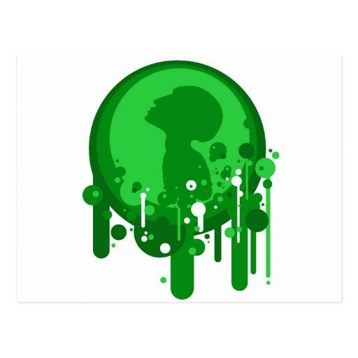Modelo verde de la esperanza postales