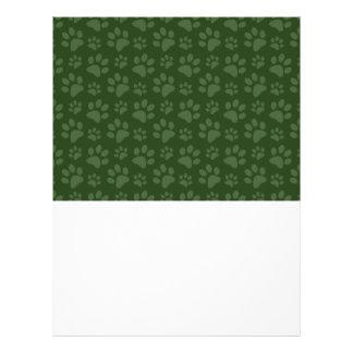 Modelo verde de la impresión de la pata del perro tarjetas informativas