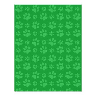 Modelo verde de la impresión de la pata del perro tarjetón