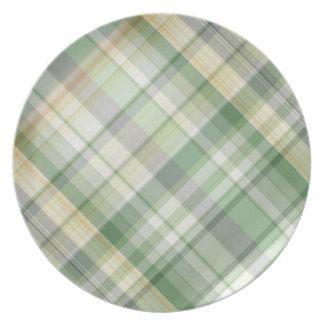 Modelo verde de la tela escocesa platos para fiestas