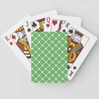 Modelo verde de los corazones del trébol de la hoj cartas de póquer