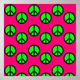 Modelo verde de neón del Hippie del signo de la pa Poster
