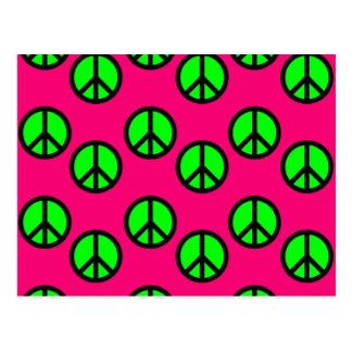 Modelo verde de neón del Hippie del signo de la pa Postal