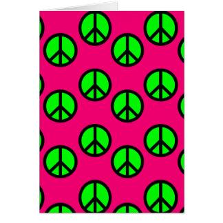 Modelo verde de neón del Hippie del signo de la Tarjeta De Felicitación